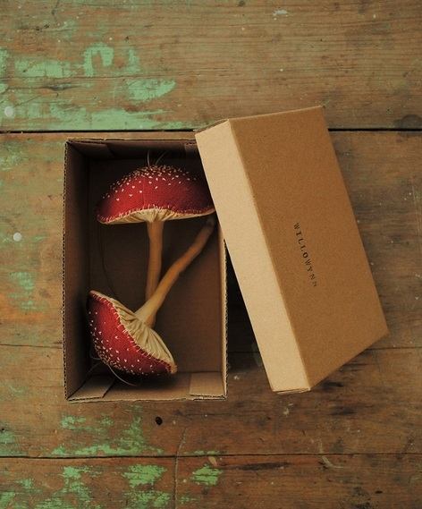 Red fabric mushrooms by Willowynn