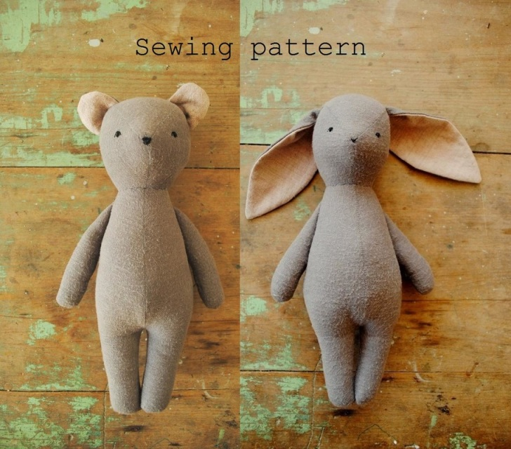 Bunny Rabbit And Bear Soft Toy Doll Pdf Sewing Pattern By