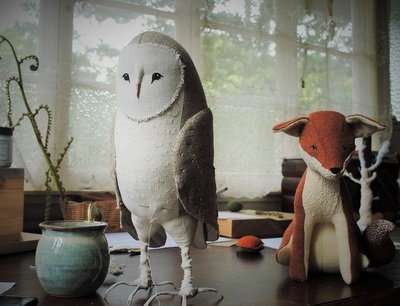 Owl and fox soft sculptures by Willowynn