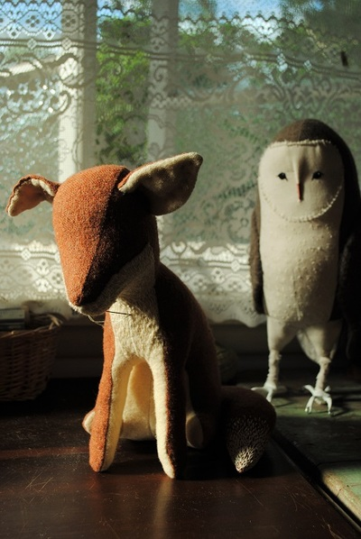 Fox and owl soft sculptures by Willowynn