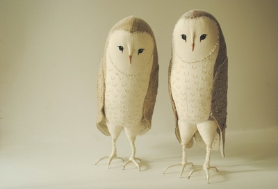 Barn owl soft sculptures by Willowynn