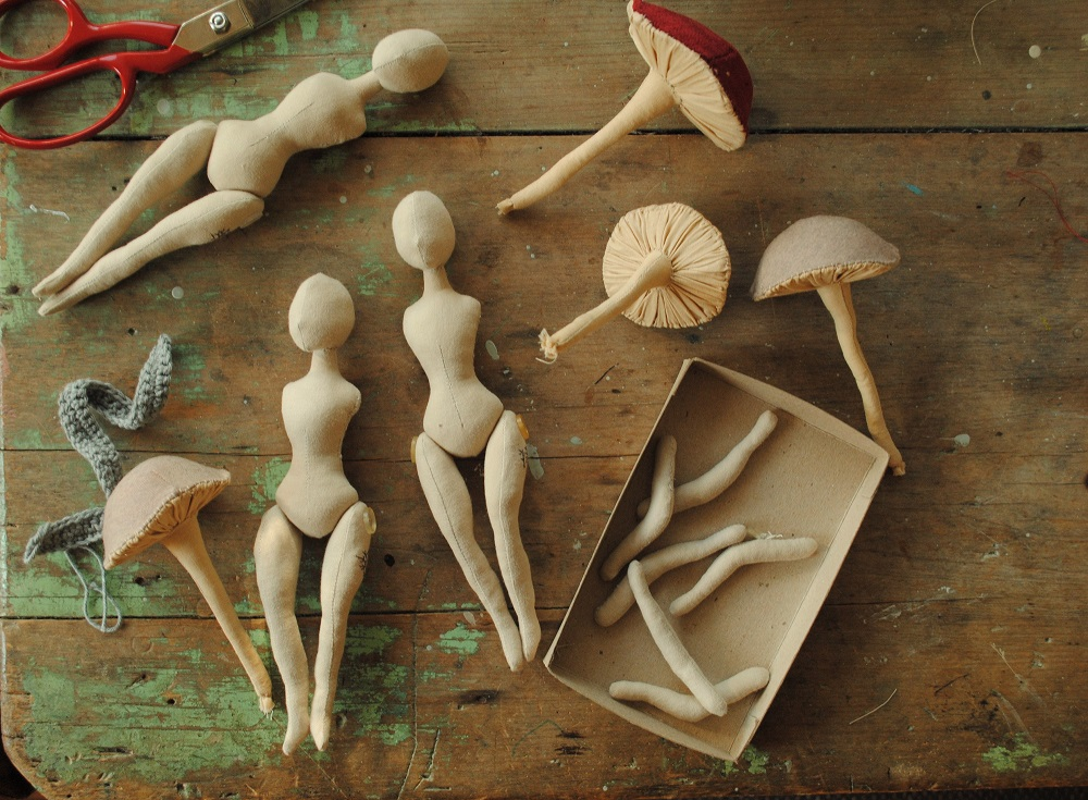 Work in progress: cloth dolls and fabric mushrooms by Willowynn.