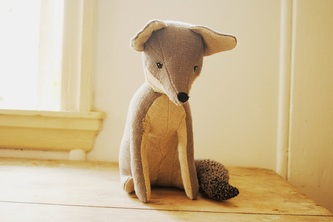 Grey fox soft sculpture by Willowynn