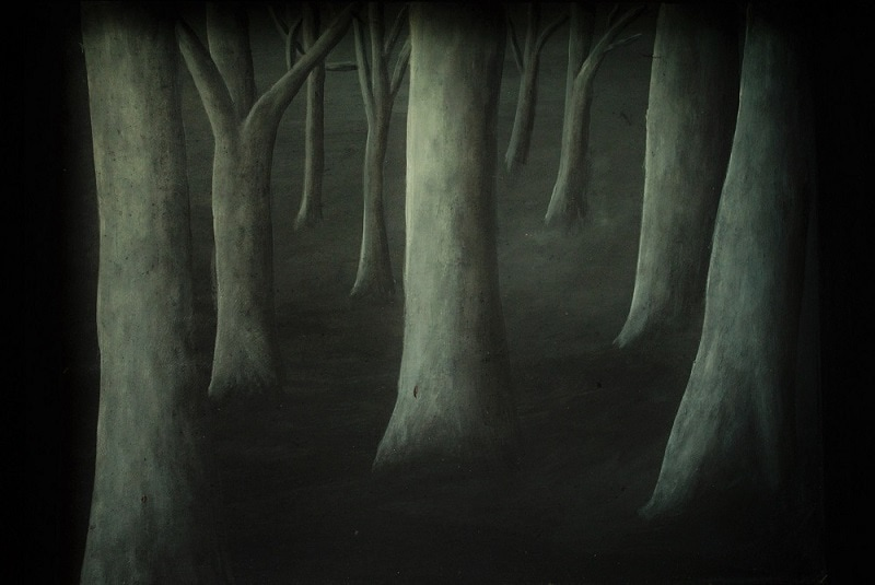Dark forest painted by Margeaux Davis of Willowynn