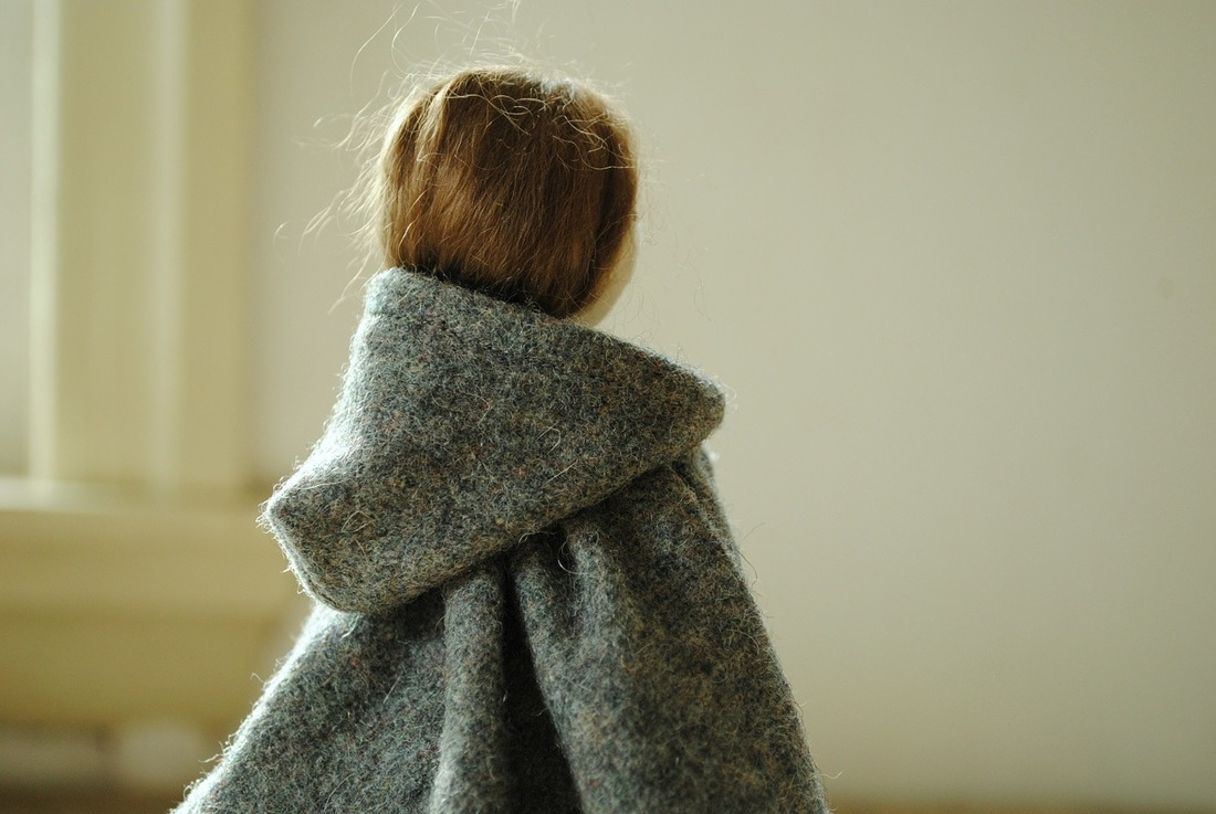 Cloth doll in wool cloak handmade by Willowynn