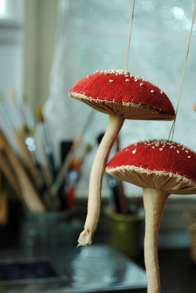 Mushroom ornaments by Willowynn
