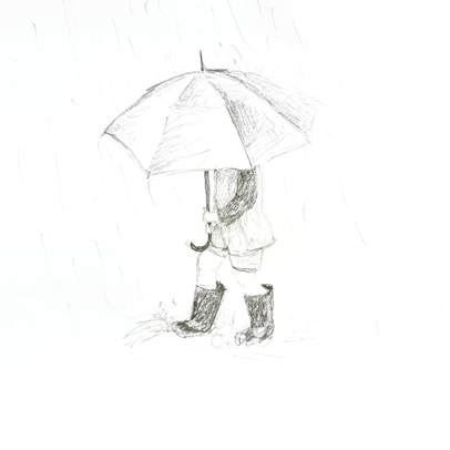 Boy with umbrella - Pencil sketch - Margeaux Davis, 2018 www.willowynn.com