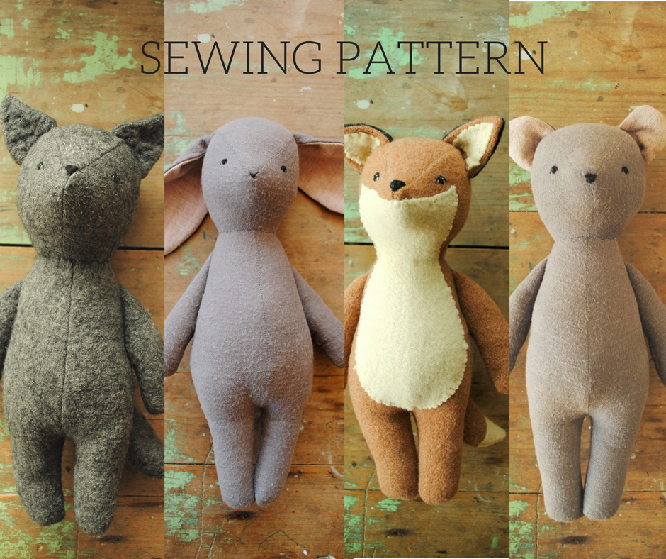 Stuffed Animal Sewing Pattern Fox Or Wolf Soft Toy Doll Pdf