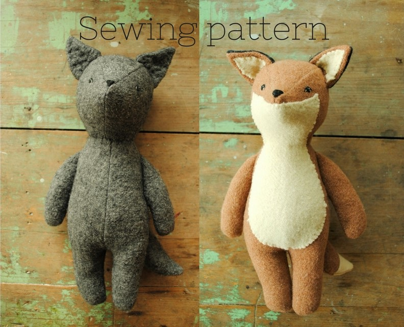 Fox and wolf sewing pattern by Willowynn