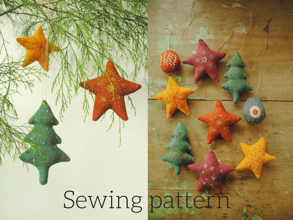 Fabric Christmas ornaments - downloadable PDF sewing pattern by Willowynn