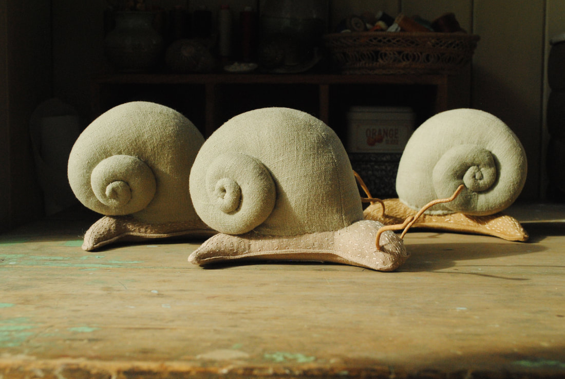 Snail soft sculpture by Willowynn