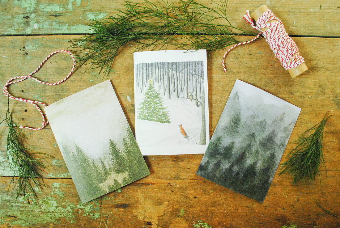 Illustrated Christmas card set by Margeaux Davis www.willowynn.com